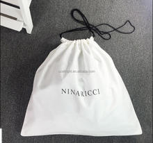 White cotton Custom drawstring dust bag covers for handbag