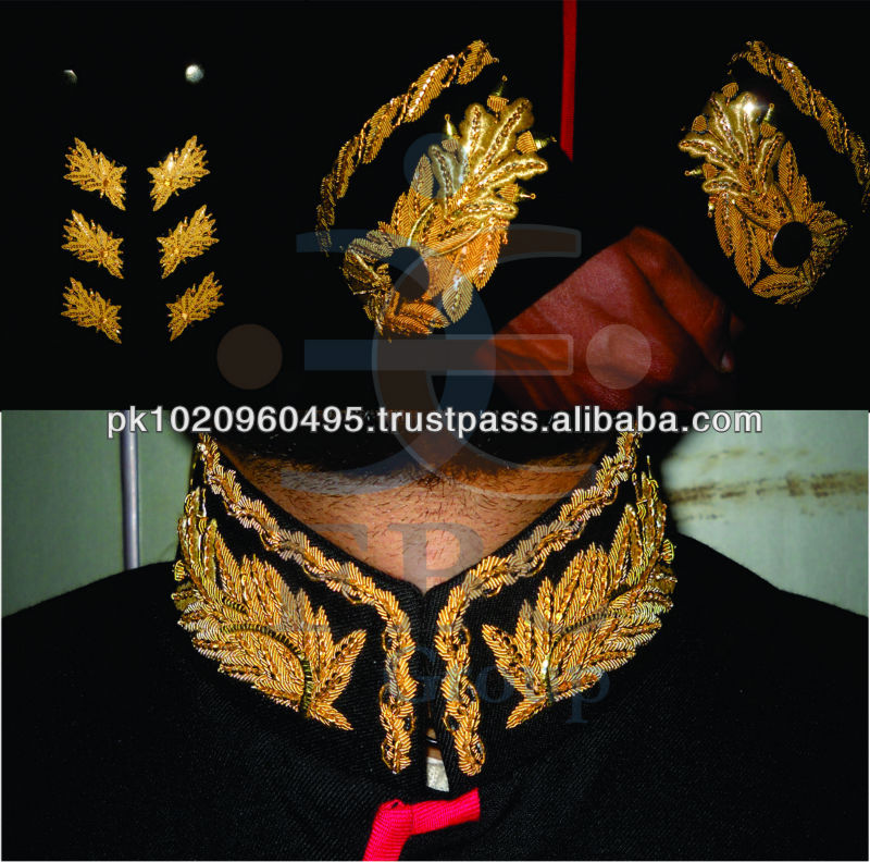 Hand Embroidered Gold Bullion Collar and Cuff | UK Ceremonial Guards Uniform Embroidery | Imperial Uniform Gold Embroidery