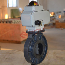 light weight upvc plastic butterfly valve with electric actuator