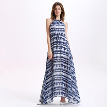 Hot New Style Women's Floral Printed Backless Loose Waist Sexy Slip Maxi Dress Halter Dress
