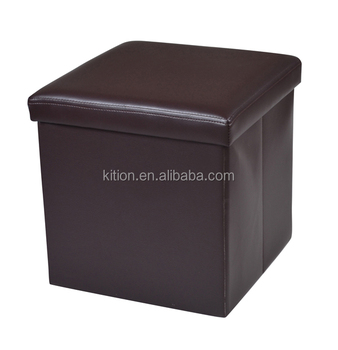 Fashion pvc foldable storage stool faux leather solid color/brown/black cool