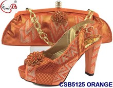 CSB5125 Top grade quality genuine leather italian shoes and bag set for ladies evening party