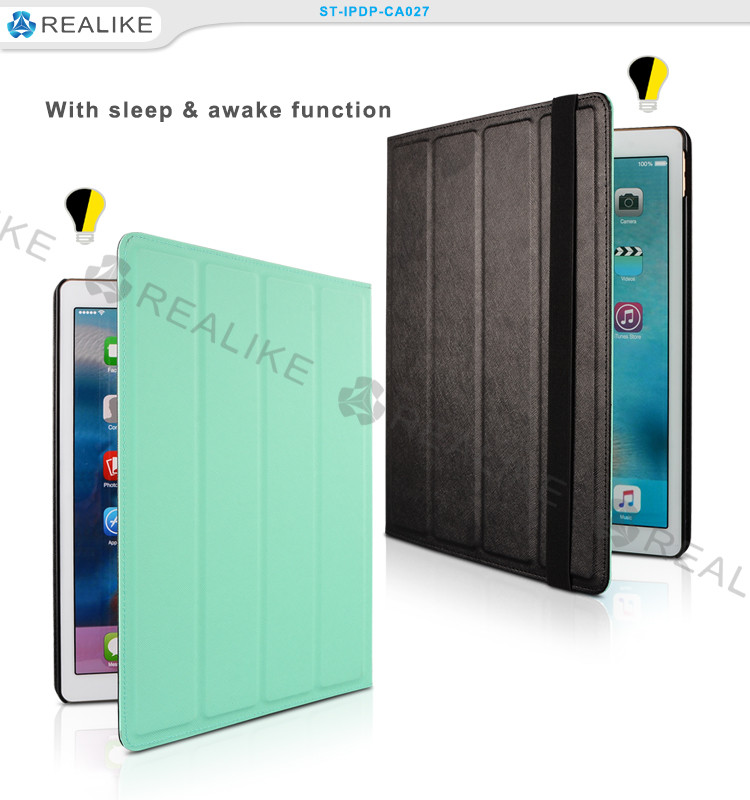 Four-folded smart tablet case cover for ipad pro with auto sleep and wake up function