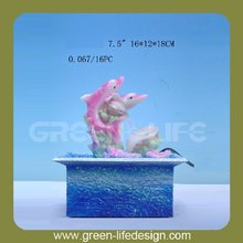 Resin led light dolphins figurine for Indoor Table Top Water Fountain
