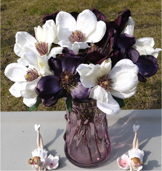 100 Wholesale Real Touch artificial Fabric Purple Yulan Magnolia flowers
