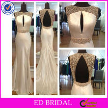 NC119 Delicate Beaded Real Sample Charmuse Open Back Evening Dress From Dubai