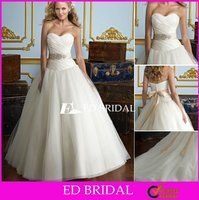 Ball Gown Sweetheart Chapel Train Taffeta Tulle Ball Gown Wedding Dress Long Train with Beaded Bow Sash