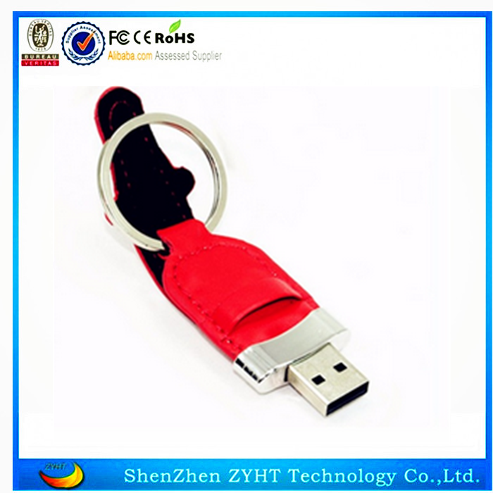 promo new products custom leather usb flash with logo print