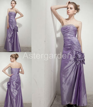 2017 astergarden new style A-line strapless floor-length pleated taffeta beading evening dresses with hand flower AS257