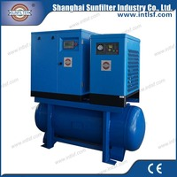 Screw portable air compressor with air dryer and air filters