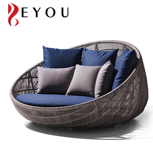 Hot Sale Pool Side Rattan Sun Lounger Egg Shaped Sofa Bed Wicker Chaise Lounge Used Outdoor Furniture