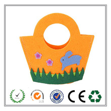 Alibaba China lovely orange Easter felt gift bag with rabbit and flowers