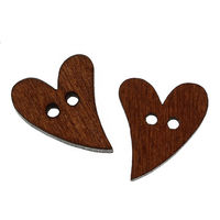50 lot HOT Sale Brown Wooden Sewing Heart Shape Button Craft Scrapbooking 20mm