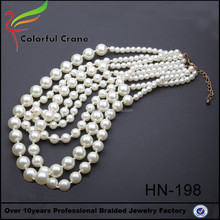 Yiwu supplier wholesale latest design real pearl necklace price pictures white black pearl necklace with crystal