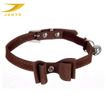 Custom new fashion leather cat collar bowknot bell cat collar
