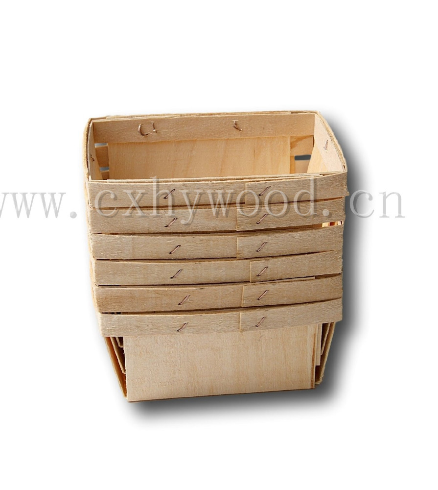 Pint Rectangular Vented Wooden Berry Baskets