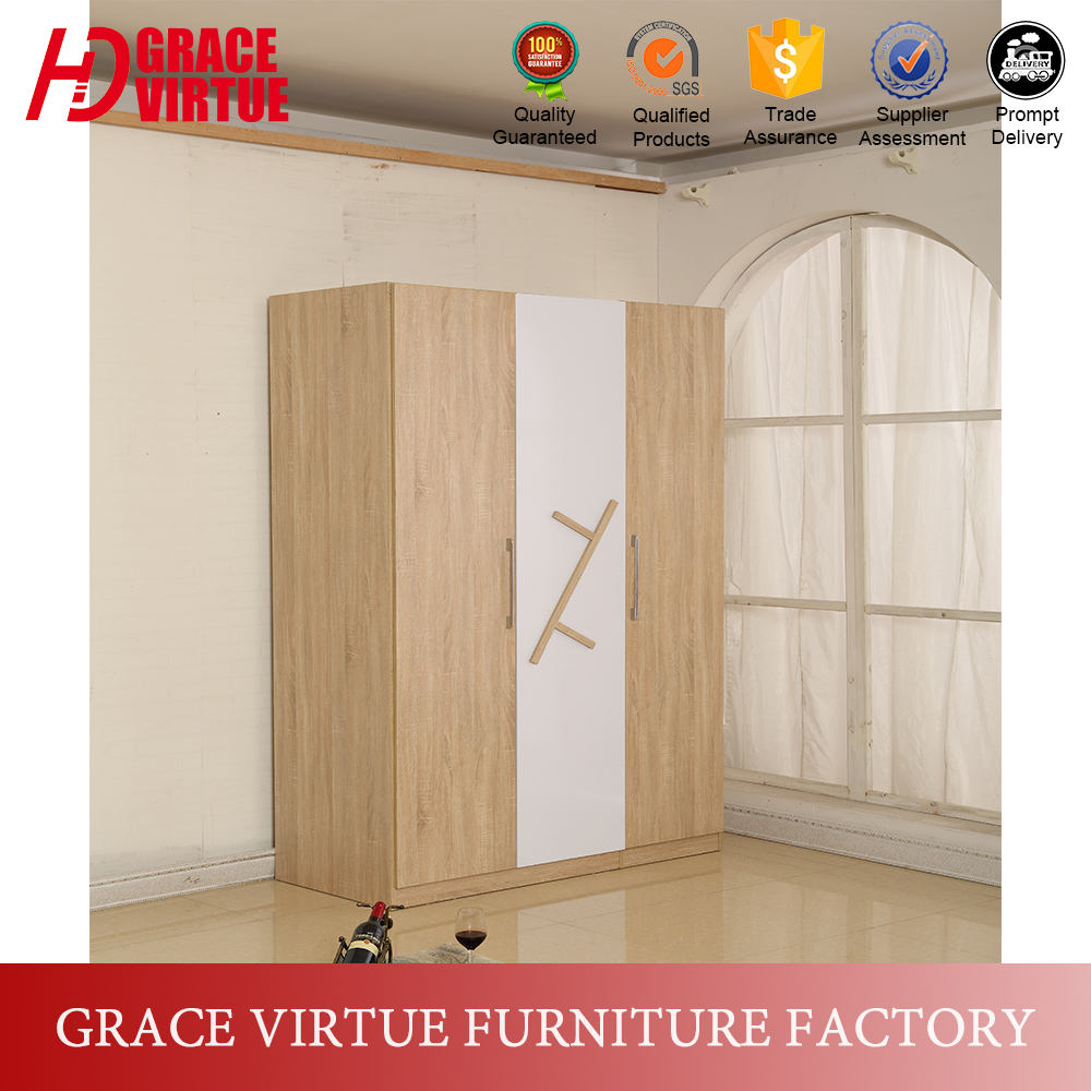 Factory Wholesale Price 3 Door MDF Almirah Wardrobe Designs