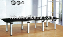 Modern rectangular black glass conference table with glass top and aluminum legs(FOHYTJ-8090)