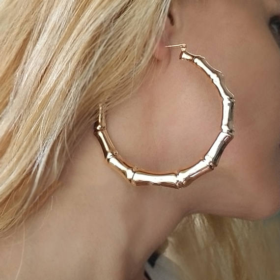 2017 latest design large gold bamboo hoop earrings