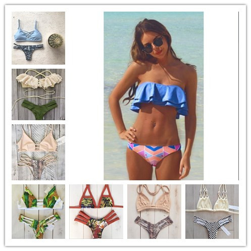 MOON BUNNY bikini 2016 Sey cool summer Top wavy Bottom Print swimsuit maillot de bain swimwear women bathing suit Flounced bikin