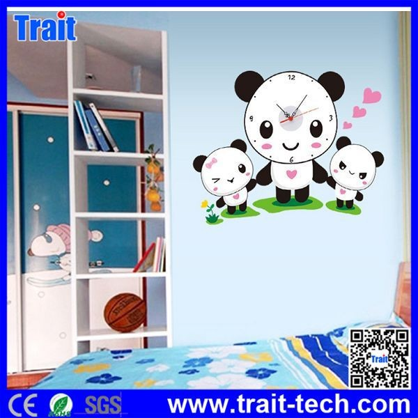 DIY Removable PVC Decals Panda Family Clock Pattern Wall Stickers,Wall Sticker Clock