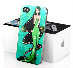 Hot selling mermaid dress pattern for iphone 4 4s case with plastic and diamond cover