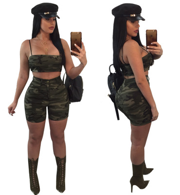 Hot sale Sexy Camouflage Printed Wrapped Chest women two piece outfits