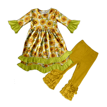 Sunflower Outfit Autumn Fashion For Kids Deer Outfit Kids Clothing Manufactuers Baby Boutique Clothes Girls Fall Outfits