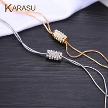 Free Shipping Luxury 2016 Shining Cubic Zirconia Silver Gold Plated Long Chain Necklace for Women & Girls Gift Jewelry