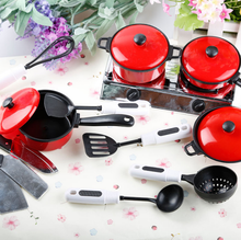 Pots and Pans Kitchen Cookware For Baby Kids Children Play House Toys Red Cutlery Set