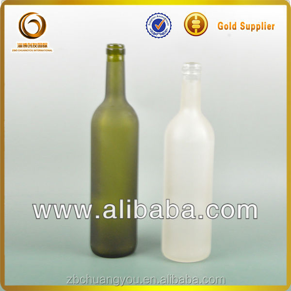 750ml alcohol glass wine bottles wholesale/frosted glass bottles wholesale