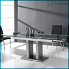 ST-033 modern design 1.45 meter to 2 meter extendable 12mm temper glass dining table stainless steel base