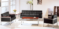 Modern office leather sofa set nice metal frame leather sectional sofa(FOH-6686)