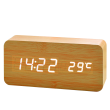 New Designs Cute Christmas Gifts Digital LED Wood Table Clock Temperature Clock