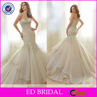 New Collection Mermaid Design Lace Appliqued Organza Wedding Dress 2016