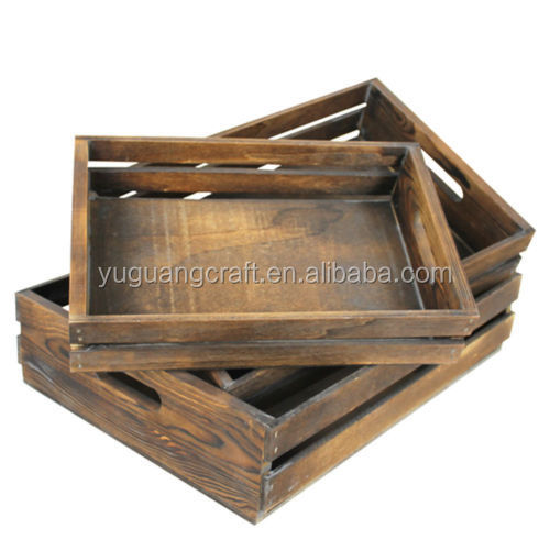 Eco-Friendly Wooden Vegetable and Fruit Crate 3 in 1 Set