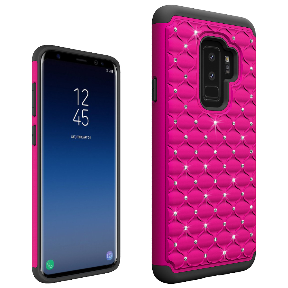 Bling bling diamond cell phone case for Samsung S9 plus/G965, 2 in 1 tpu and pc cover case for Samsung S9 plus