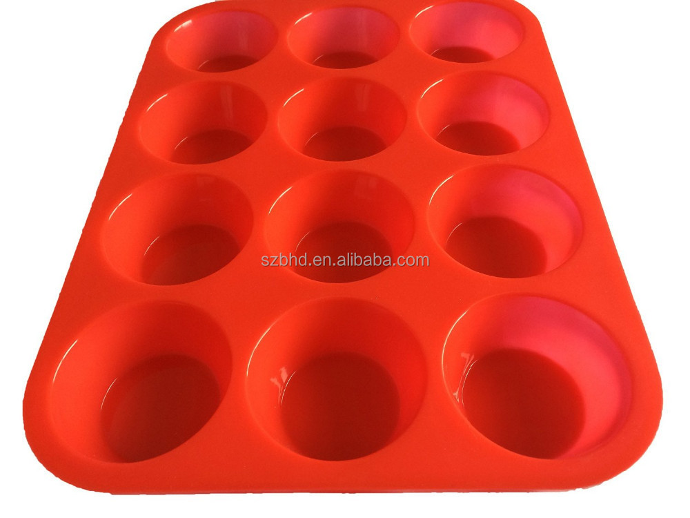 Durable Baking pan round shape 12 cup silicone muffin pan