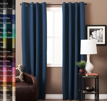 Hot sale hotel home black out window fabric curtains with grommets eyelet