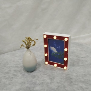 New Gift Custom lastst design 3D Battery Operated Wedding Stand Table Desk Led bulb Backlit Light Mini White 4x6 Picture Frame