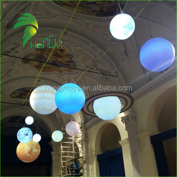 LED Lighting Inflatable Hanging nine Planets Balloons / Solar System Balloon / Inflatable Moon Balls For Decoration