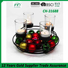 Tabletop tealight metal candle holder lantern with 4pcs clear glass cup CH-31688
