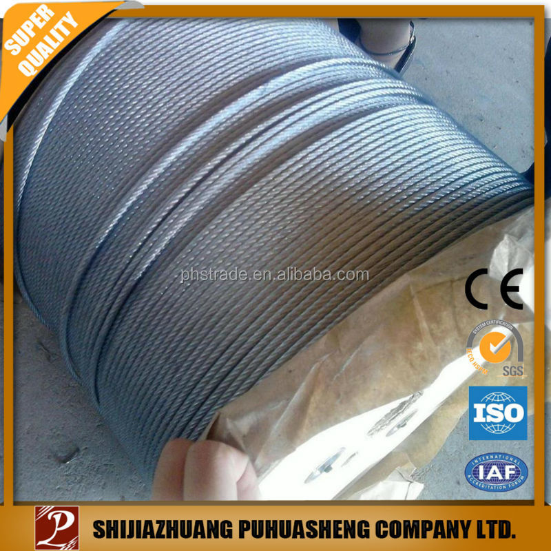 wholesale China trade pvc coated steel wire rope/zinc coated wire rope