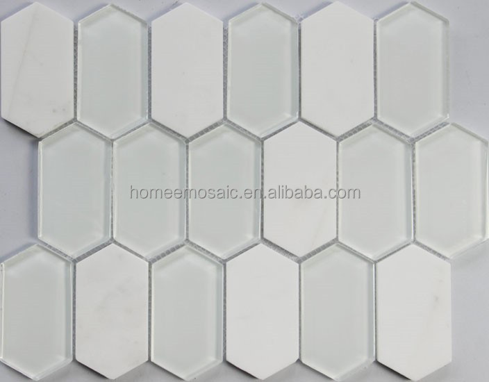 Hot sale hexagon super white glass stone mosaic for bathroom wall tile