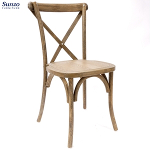 French Style Vintage Furniture Solid Wood Cross X Back Bistro Chair