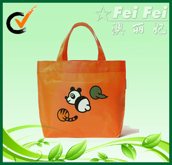 PP non woven orange with cute printing cheap handbags or shopping bags