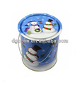Colorful christmas gift tin bucket with lid and handle