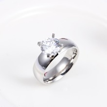 4.8g 6mm Clear Zircon Ring Stainless Steel Antique Ring