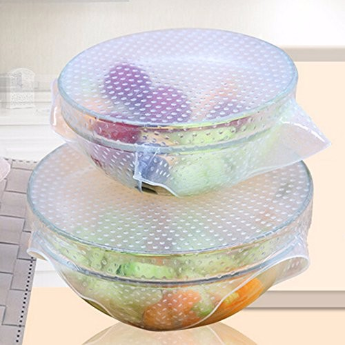 Easy use reusable food-grade silicone lid, fresh keeping strech wrap film
