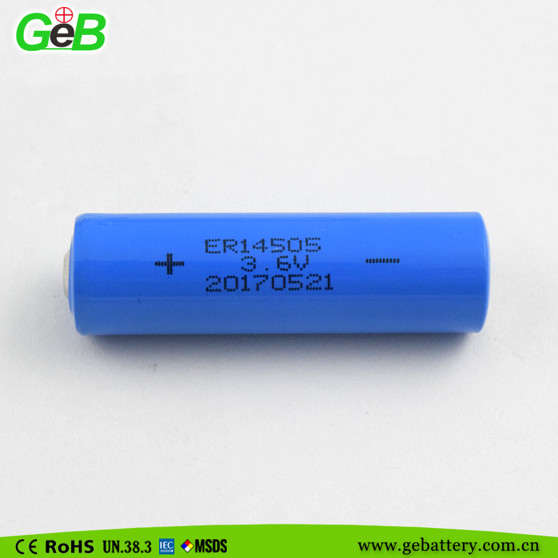 lithium thionyl chloride battery 3.6v AA size Li/SOCl2 batteries 14505 2400mah for electronics devices